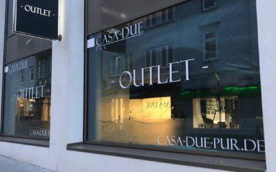 Schaufensterfolierung CASA-DUE Outlet
